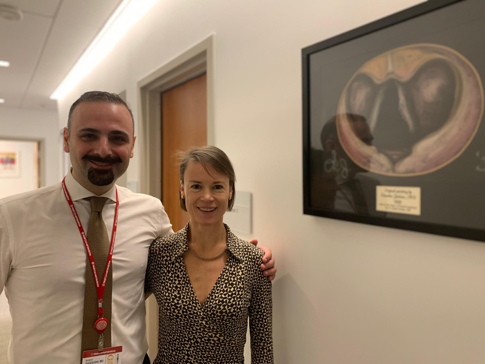 Babak Sadoughi, MD and Kate Heathcote MBBS, MRCS at the Sean Parker Institute for the Voice in Manhattan