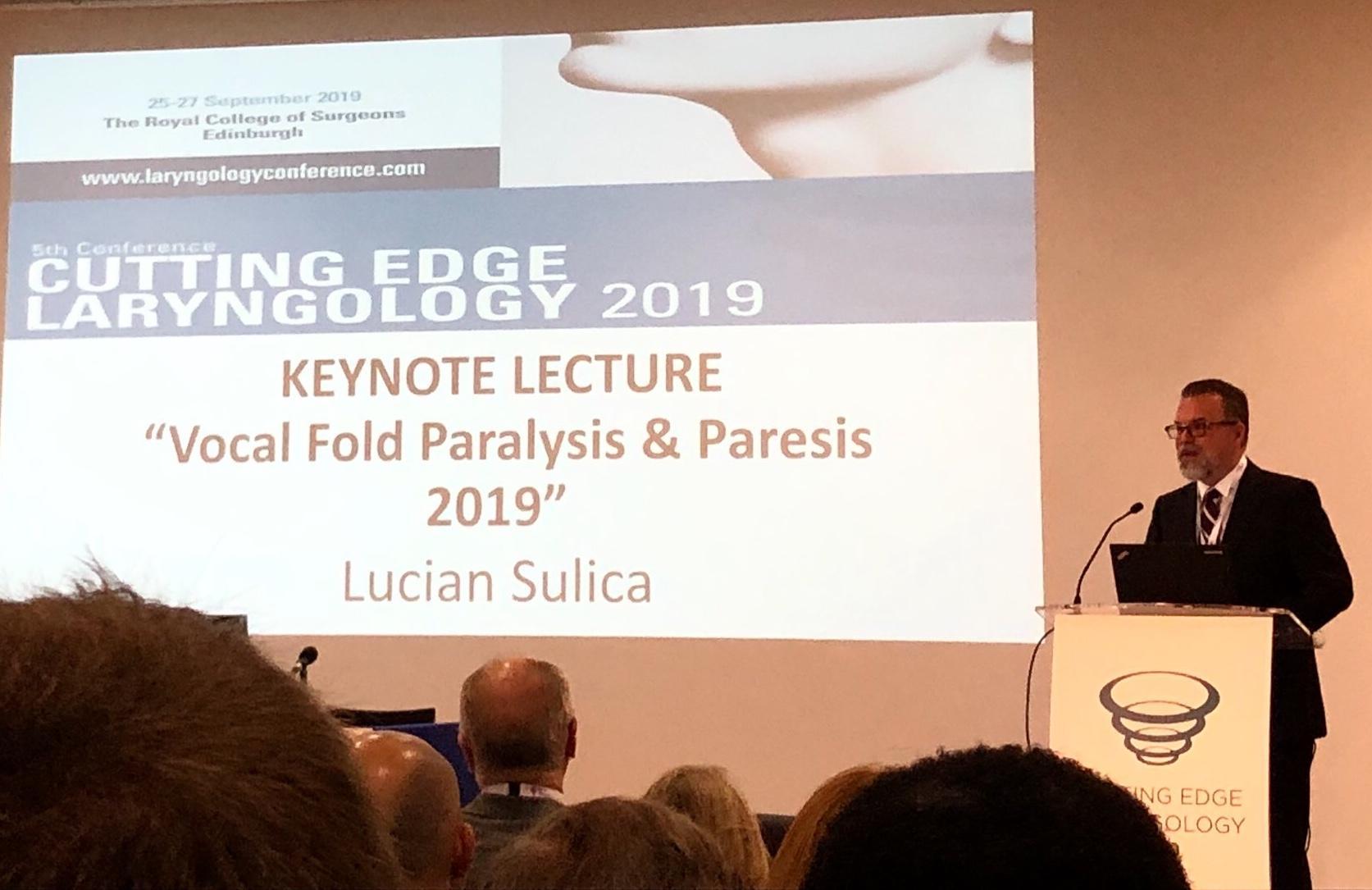 Lucian Sulica, MD addresses the British Laryngological Association in Edinburgh