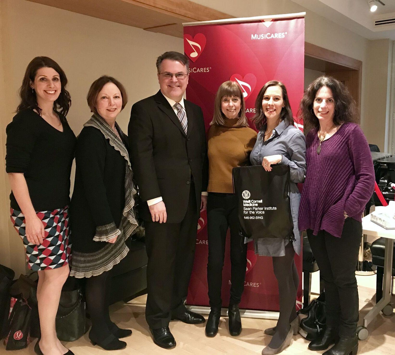 Speech therapists Christine Estes, Chandler Thompson, Dr. Lucian Sulica, Rachel Coleman and Jennifer Leff, Senior Director, MusiCares
